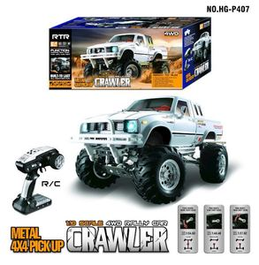 Image 3 - HG P407 1/10 2.4G 4WD 3CH Brushed Rally Rc Car for TOYATO Metal 4X 4 Pickup Truck Rock Crawler RTR Toy Black White Gifts Boys