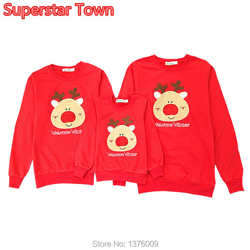2018 New Matching Family Clothes Christmas Deer Cotton Shirt Harajuku Lover Couple Outfit Hoodie Mommy and Me Tops