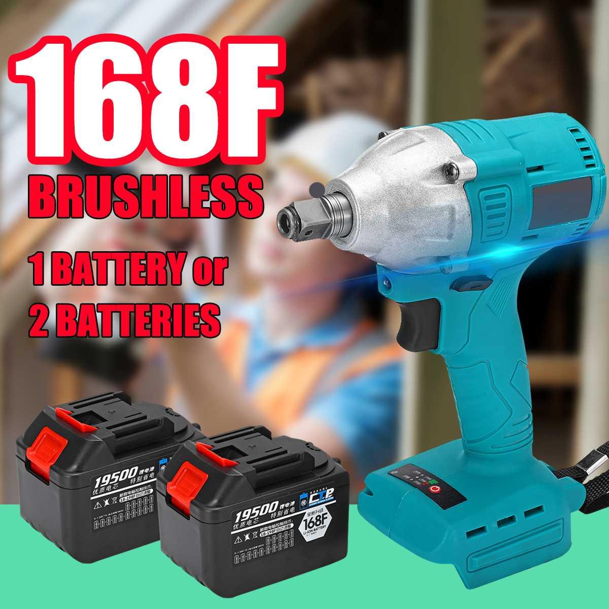 168F Brushless Cordless Impact Wrench 1/2 ''Presa Con Li-Ion 19500 mAh Della Batteria luci A LED Caricatore Del Telefono Trapano Strumento di Installazione