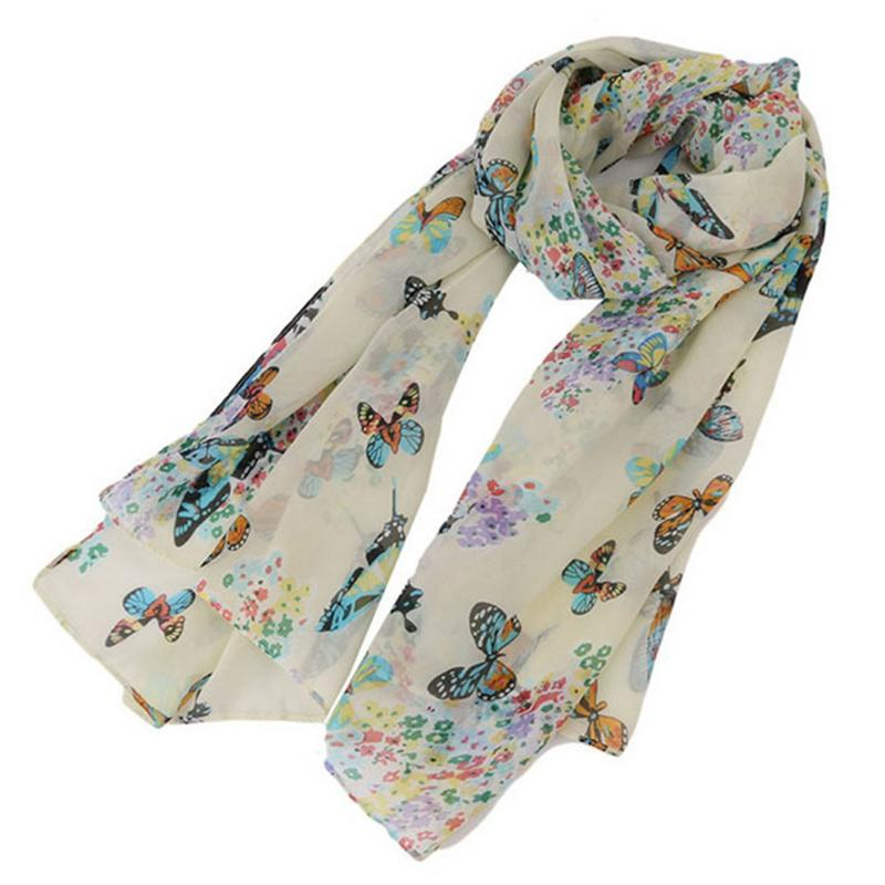 Korean Style New Butterfly Printed Chiffon Long   Scarves   Female Versatile Fashionable Bufanda New Ladies Hijabs Shawl   Wrap     Scarf