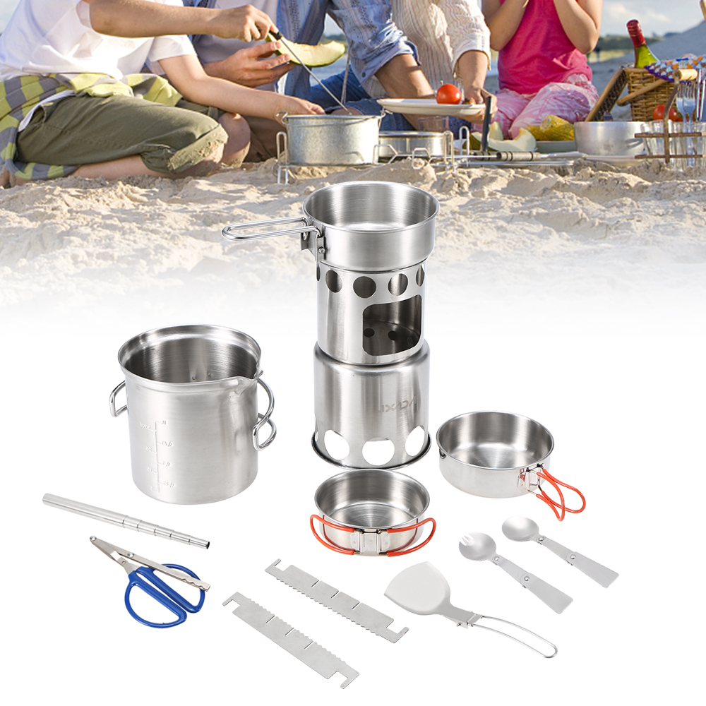 10Pcs Camping Cookware Mess Kit Portable Stainless Steel Pot Pan Set Bowls Spoon Spork Tableware Cooking Set Folding Wood Stove-in Outdoor Stoves from Sports & Entertainment on AliExpress - 11.11_Double 11_Singles' Day 1