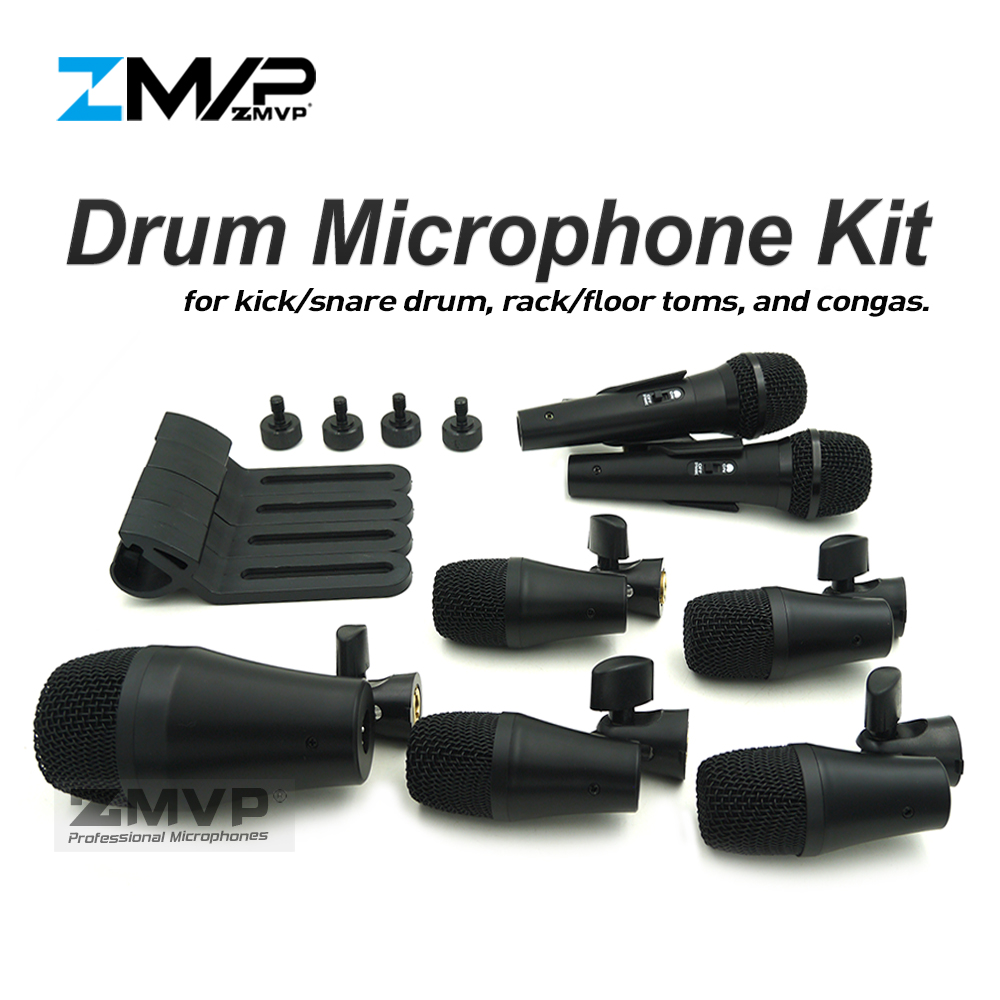 Free Shipping!! P DMK7 Professional Percussion Drums Guitar Brass 7 Piece Drum Kit Instrument Microphone Mic with Carrying Case professional portable 14snare drum package bag cover box dumb drum shoulders backpack black carrying case drums instrument gig
