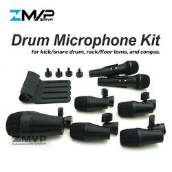 Profesjonalne 7 sztuka PGADMK7 perkusja mikrofon przyrządu do gitara basowa wzmacniacz Kick Tom werbel instrumenty perkusyjne mikrofon z futerał do przenoszenia