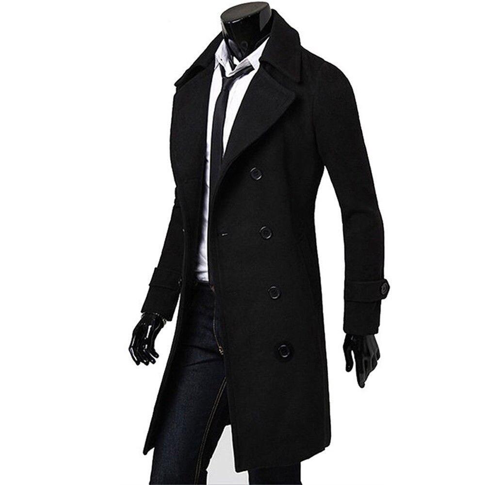Men Winter Double Breasted Trench Coat Winter Warm Long Jacket windbreaker Solid Overcoat Outwear