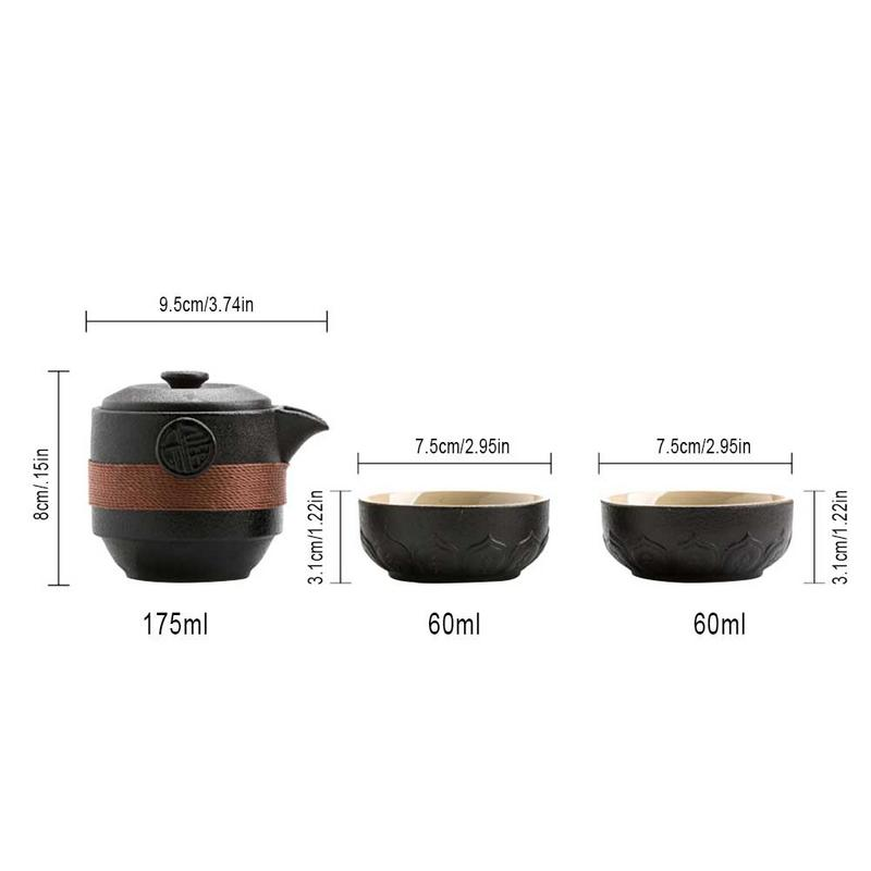 Black Pottery One Pot Two Cups Tea Sets Portable Travel Home Office Cups Ceramic Tea Coffee Container With Bag in Teaware Sets from Home Garden