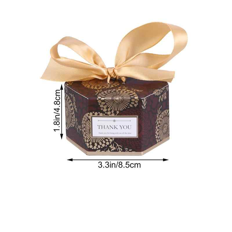 20pcs Wedding Candy Boxes Hexagonal Gift Boxes with Ribbon Decent Chocolate Treat Boxes Party Favors - Small Size (Coffee)