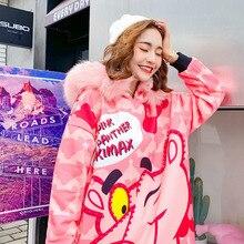 Women Beading Pink panther Printing Sweatshirt Dress  Autumn Winter Pink Fur Collar Hooded Sweatshirt Dress