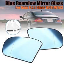 Автомобильное боковое зеркало заднего вида, синее антибликовое зеркало с подогревом для Benz C & E Class W211 W203