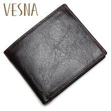 Vesna 100% Genuine Leather Mens Wallet Premium Product Real Cowhide Wallets For Man Short Black Walet Portefeuille Homme цена 2017