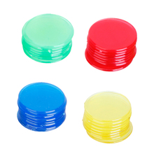 Perfeclan 100 pcs PRO Plastic 3/4 inch Bingo Poker Games Chips Red/Yellow/Blue/Green Board Game Chip