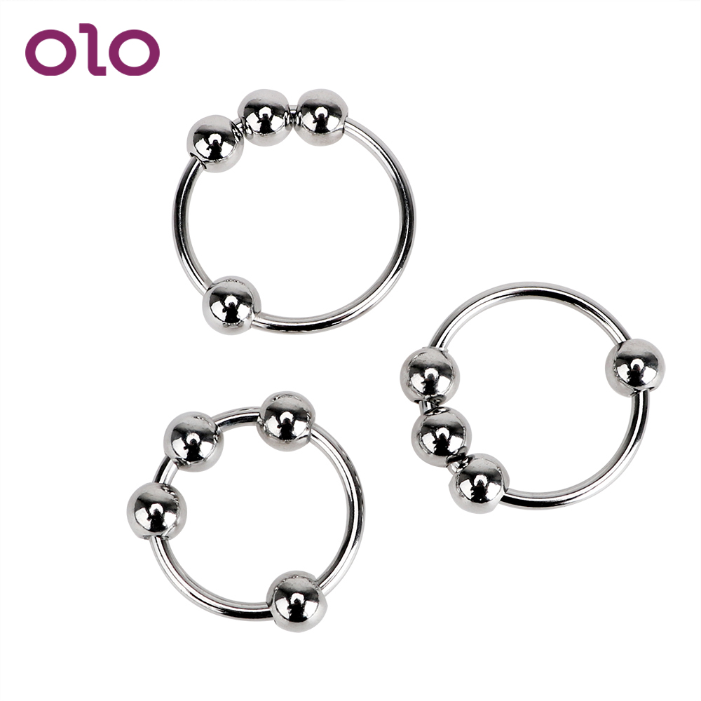 OLO Penis Ring Stainless Steel Cock Ring Male Chastity Device Delay Ejaculation Foreskin Penis Sleeve Sex Toys For Men