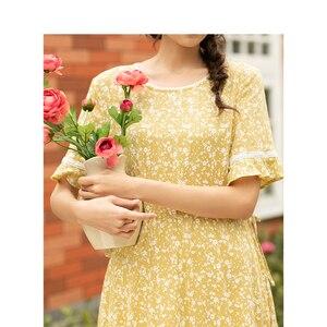 Image 4 - Женское платье с коротким рукавом, кружевное, с О образным вырезом и цветочным принтом, inman