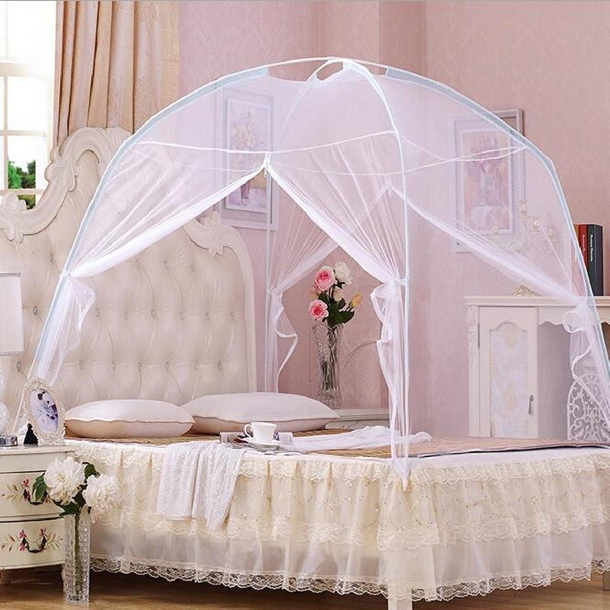1x Portable Pliant Moustiquaire Tente 1.5x2 m avec 2 Ouvertures Livraison-stand Lit Double Reine Blanc moustique Tente Polyester Maille