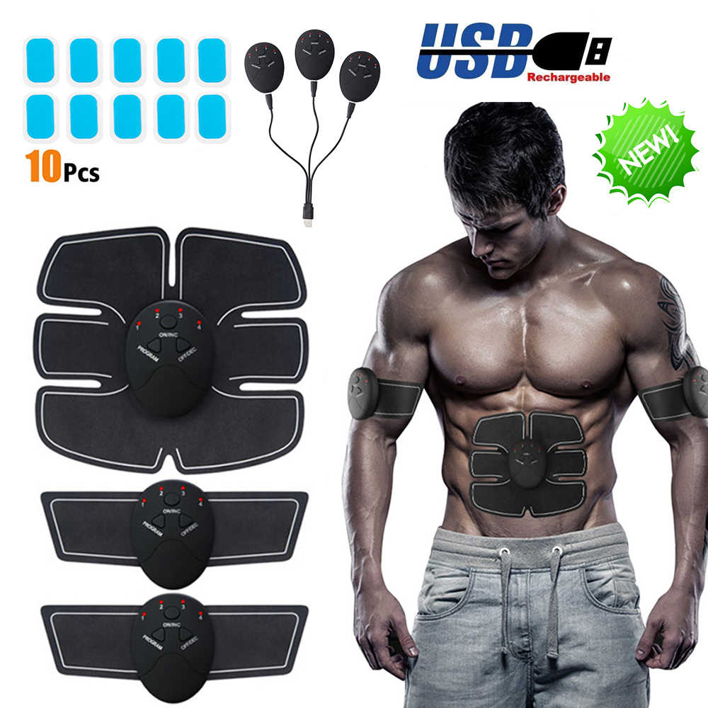 USB Charging Abdominal Machine Electric Muscle Stimulator  EMS Trainer Fitness Weight Loss Body Slimming Massage Device P30