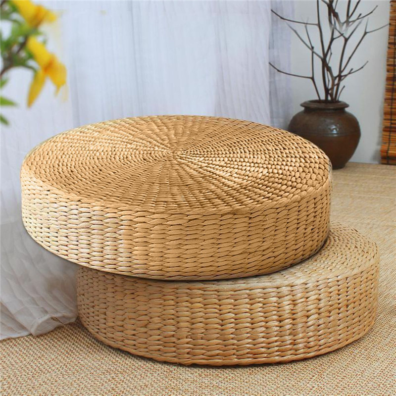 40x7.5cm Natural Straw Weaving Round Pouf Tatami Cushion Floor Cushions Meditation Yoga Round Mat Home Bedroom Chair Cushion