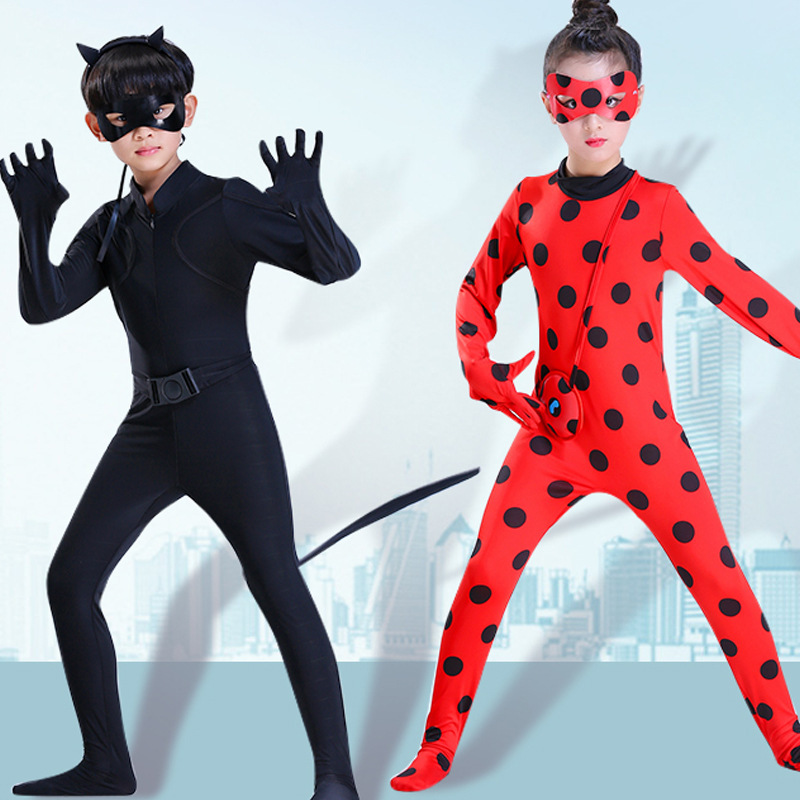 Fantasia disfraz kids ladybug lady bug costume kids suit cosplay costumes baby girls enfant girl children for child with wig