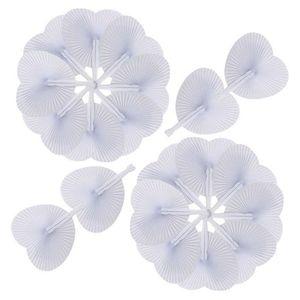 Image 4 - Ventilador de papel blanco redondo, decoración de corazón, regalo de fiesta de boda para invitados, aniversario, boda, fiesta DIY, 60 uds.