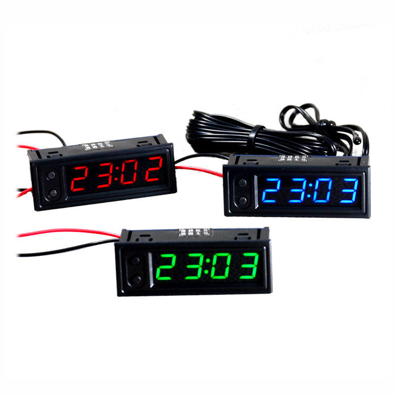 DYKB 3IN1 Digital led Elektronische uhr Uhr + voltmeter + indoor outdoor Dual thermometer F 12 v 24 v auto spannung zeit temp sensor