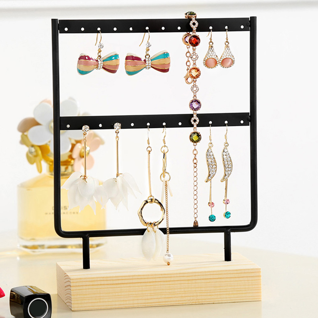 24/44 Holes Earrings Necklaces Metal Organizer Holder Wooden Jewelry Display Stand Eyewear Rack Frames