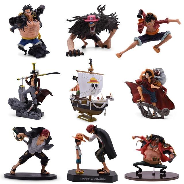 9 รูปแบบอะนิเมะ One Piece Luffy Chopper Dracule Mihawk Merry Shanks PVC Action FIGURE รูปที่สะสมคริสต์มาสของขวัญของเล่น