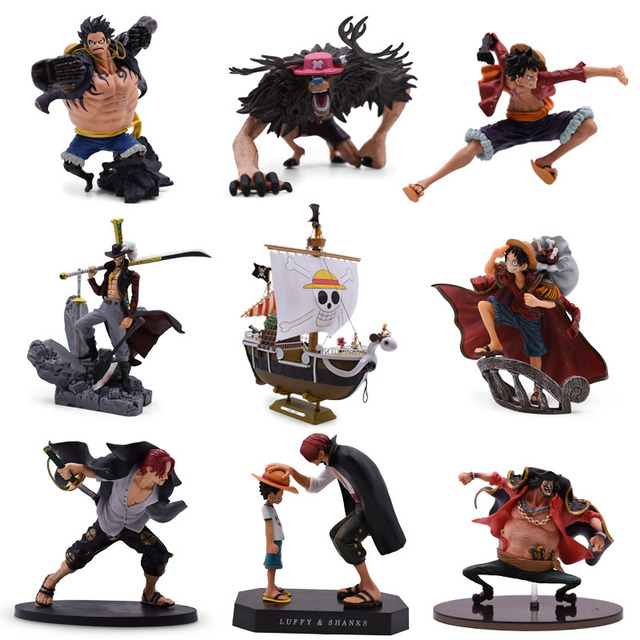 9 Styles Anime One Piece Luffy Chopper Dracule Mihawk Going Merry Shanks PVC Action Figure Collectible Model Christmas Gift Toy