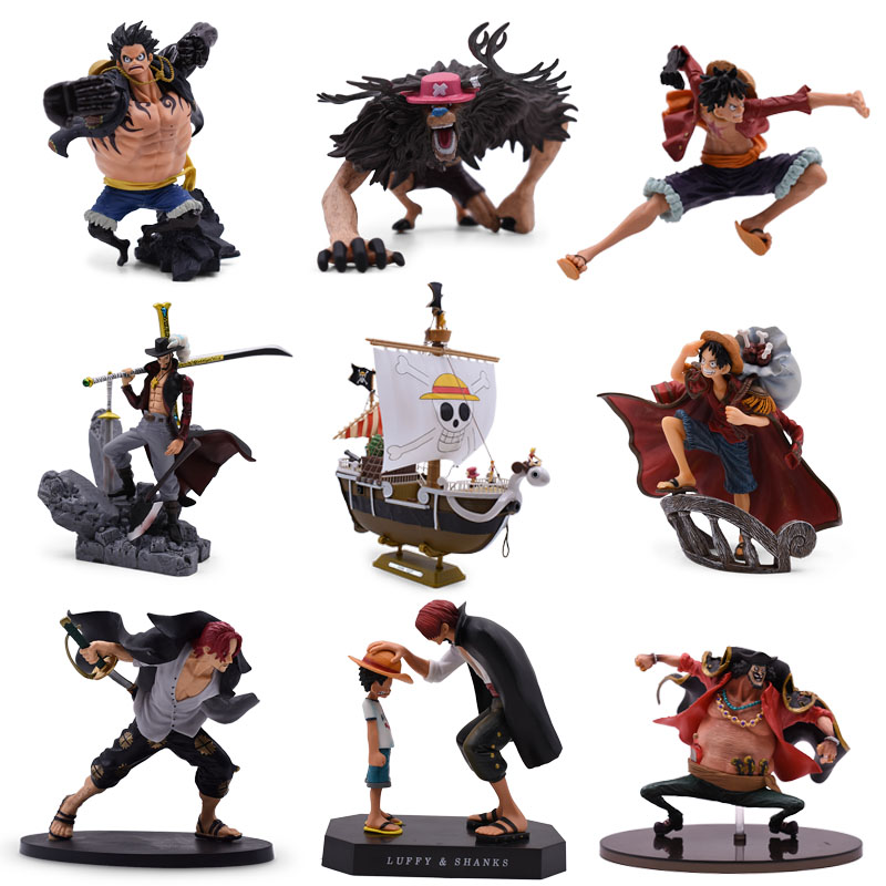9 Styles Anime <font><b>One</b></font> <font><b>Piece</b></font> <font><b>Luffy</b></font> Chopper Dracule Mihawk Going Merry Shanks PVC Action Figure Collectible Model Christmas Gift Toy image