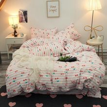 Bed Sheet Bedding Sets Cherry Printing Duvet Cover Pillowcase Gift For Lovely Girls Bed Linings In King Size Soft Pale Bed Set(China)