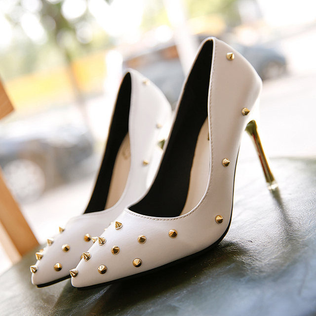 Women Pumps Pointed Toe High Heels Fashion Women Shoes Rivets Pumps PU Leather Shallow Mouth High Heel Shoes Black White Red