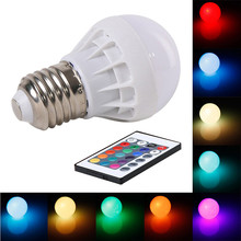 LED Bulbs E27 RGB Bulb Lamp AC85-265V 3W Colors Changing Energy Saving Dimmable Spot Light With 24 Key IR Remote Controller
