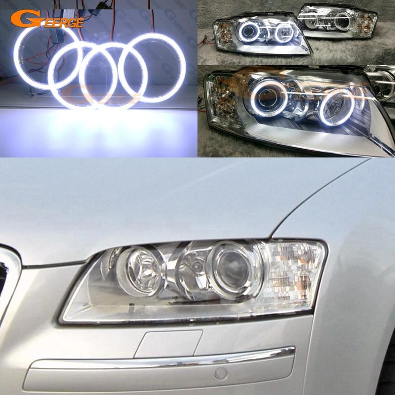 Pour Audi A8 S8 2004 2005 2006 2007 2008 2009 Excellent ange yeux Ultra lumineux éclairage COB led ange yeux kit halo anneaux