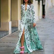 Women Summer Bohemia Print Dress Turn-down collar Long Sleeve Shirt Dress Lace Spliced Loose Dress stylish sleeveless turn down collar spliced dress for women