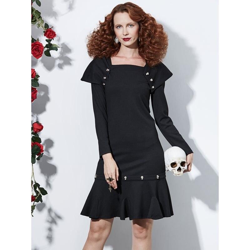 Vintage Automne De Mince Moulante Gothique Robe Femme Simple Noir Sirène Décontracté Parti Mode Robes Femmes Rue Élégant Printemps NkXnP8O0w