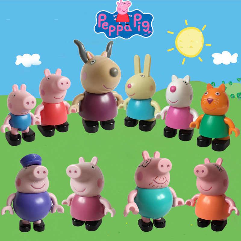 1 PPA auténtica figura de cerdo Peppa Groge papá mamá Suzy oveja amigo colecciona figura de construcción de Peppa familia juego de construcción juguete