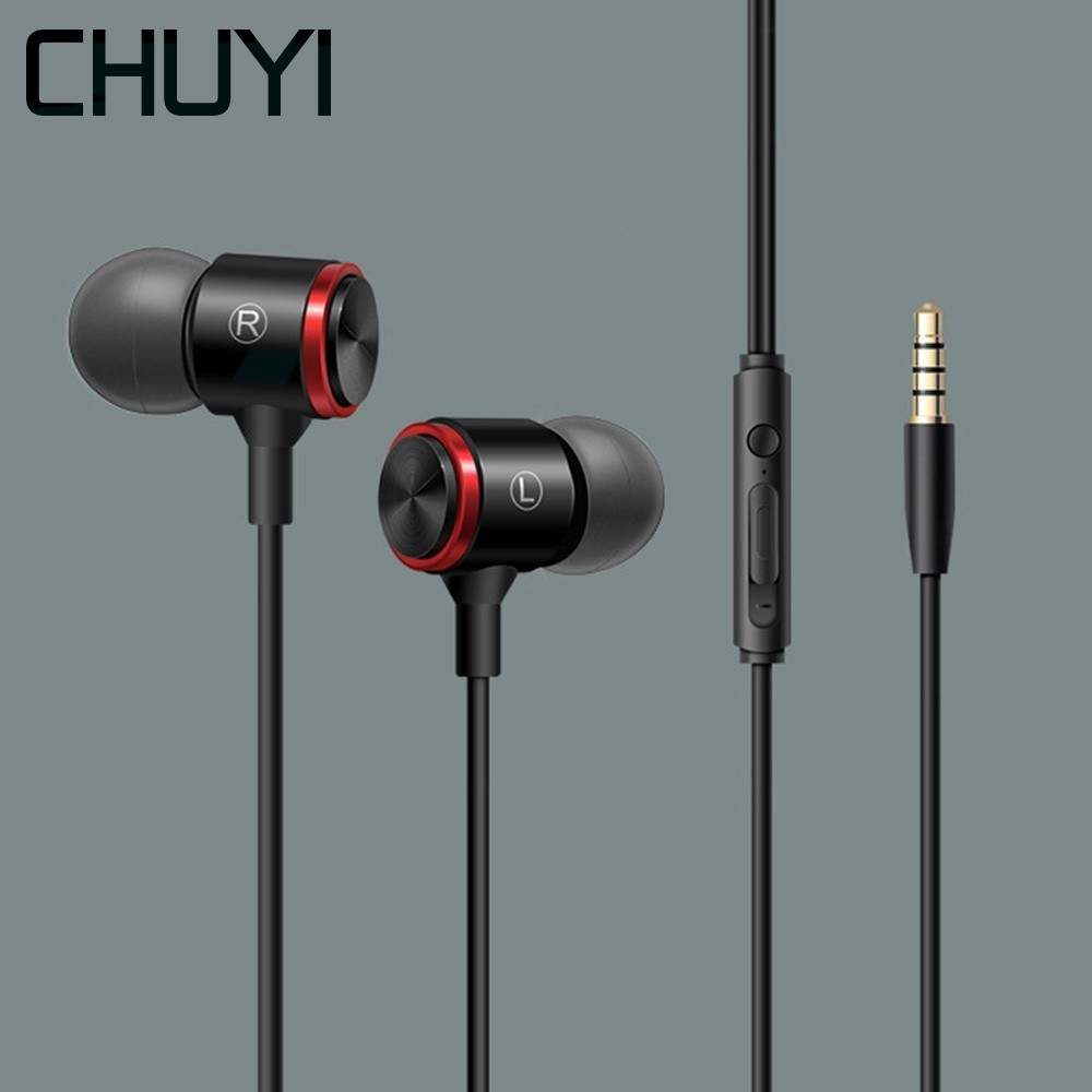 CHUYI 2019 Metal Universal earphones Game Compatible With 3.5mm earphone Cable With Microphone For Iphone Huawei Xiaomi Earbud