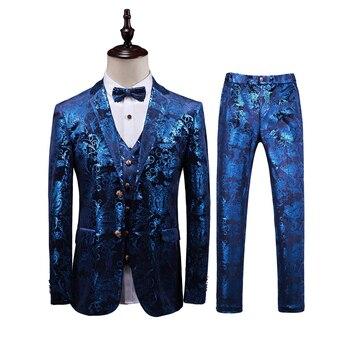 Brand New Slim Fit Casual Floral Suits Mens Business Formal Wear Tuxedo 3PC Men Suit Plus Size Wedding Dress Suit Men Clothing