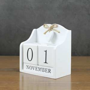Image 2 - 2019 Creative Diy Wood Block Perpetual Calendar Desk Figurines Calendar Wood Calendar Fashion Home Office Decoration Gift Whit