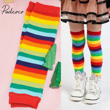 2019 Brand New Baby Boy Girl Rainbow Striped Stockings Colorful Soft Crawling Knee Pads Elbow Pads Protector Leg Warmers 1-3T cheap pudcoco CN(Origin) COTTON Polyester Fits true to size take your normal size 2-3Y Print Unisex