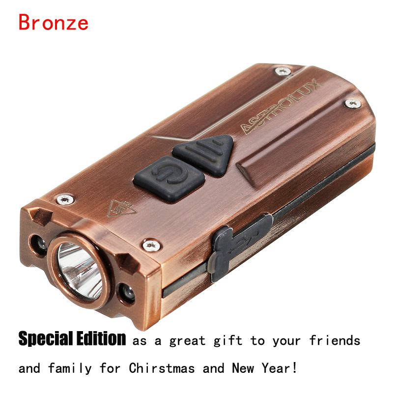 Astrolux K1 Bronze XP-G3 350LM Flashlight USB Stainless Steel Mini LED Keychain Gift Collection Special Edition Keychain Light