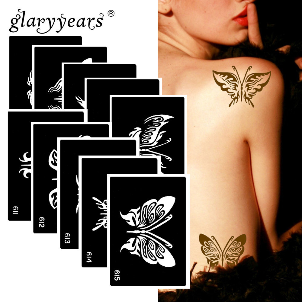 10 Pieces/Set Henna Tattoo Stencil Butterfly Pattern Paste Drawing Body Art Tattoo Stencil Sexy Product Waterproof 2019 HN15