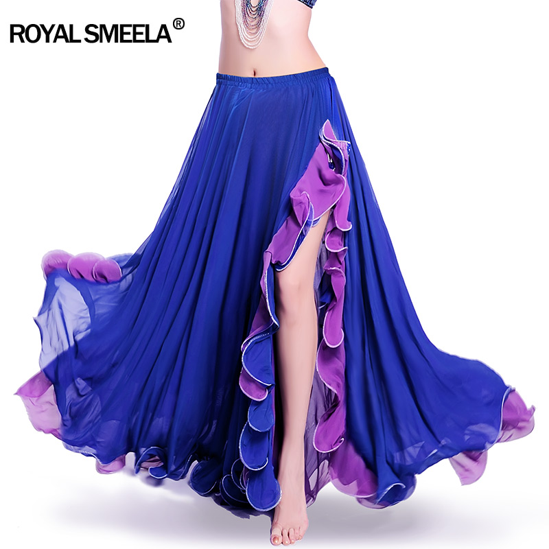 Hot Sale Women Chiffon High quality New bellydancing skirts belly dance  costume training dress Lotus leaf performance skirt for