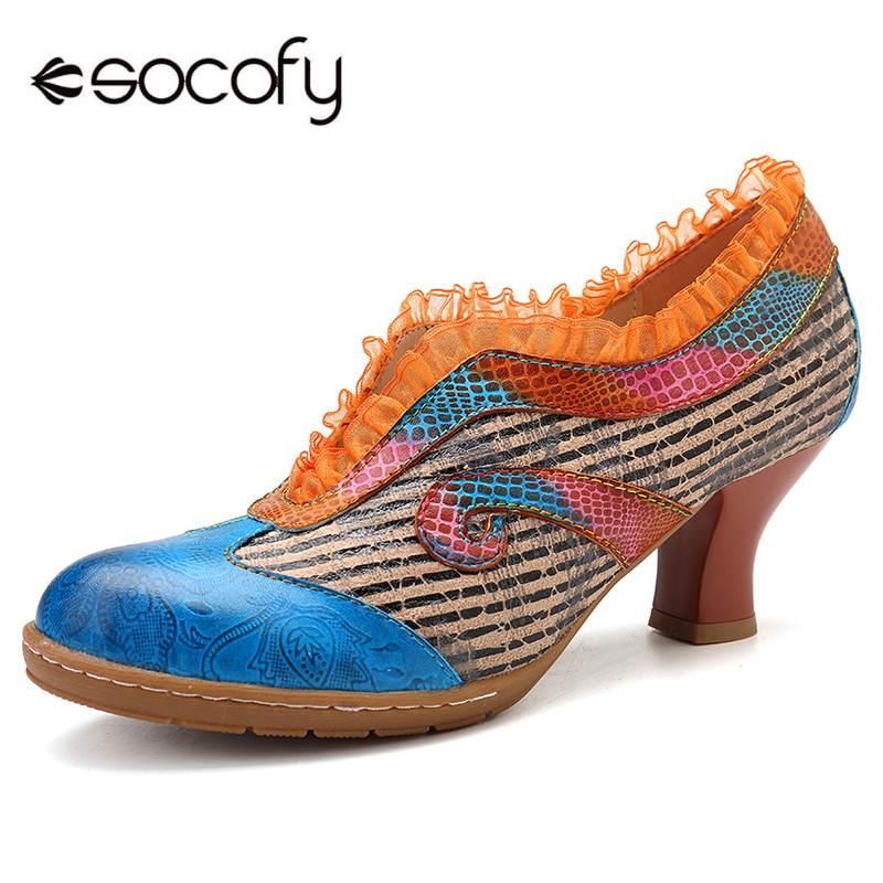 Socofy 우아함 레이스 숙녀 신발 정품 가죽 접합 검은 줄무늬 v 입 와인 글라스 발 뒤꿈치 슬립 펌프 여성 발 뒤꿈치 새로운-에서여성용 펌프부터 신발 의  그룹 1