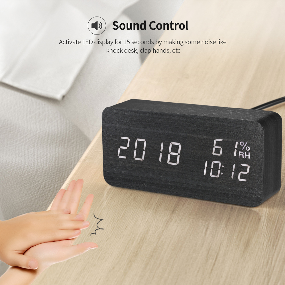 Image 3 - LED Digital Alarm Clock Wooden Sound Control Alarm Clock 