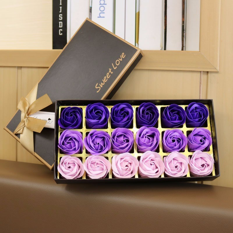 In 18 Pcs/box Heart Scented Bath Body Petal Rose Flower Soap With Gift Box Valentines Day Birthday Wedding Gifts Best Choice Novel Design;