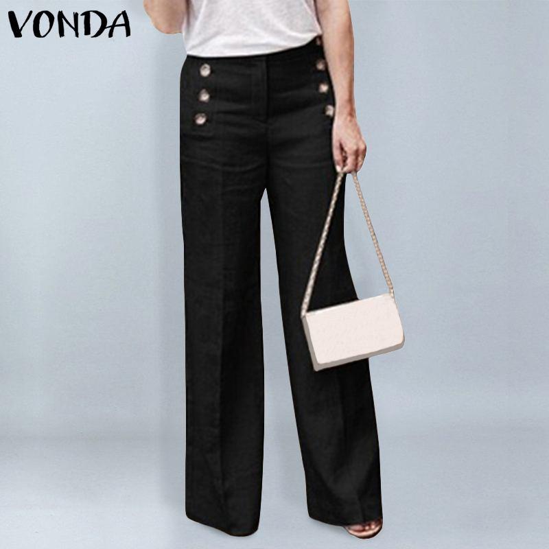 VONDA Women   Pants   2019 Autumn Office Ladies   Wide     Leg     Pants   Female Casual Buttons Zipper Trousers Bottoms Plus Size