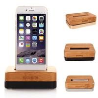 Bamboo Metal Mobile Phone Stand Charging Holder Dock Mount for iPhone 6 5S 5C 4S Good quality