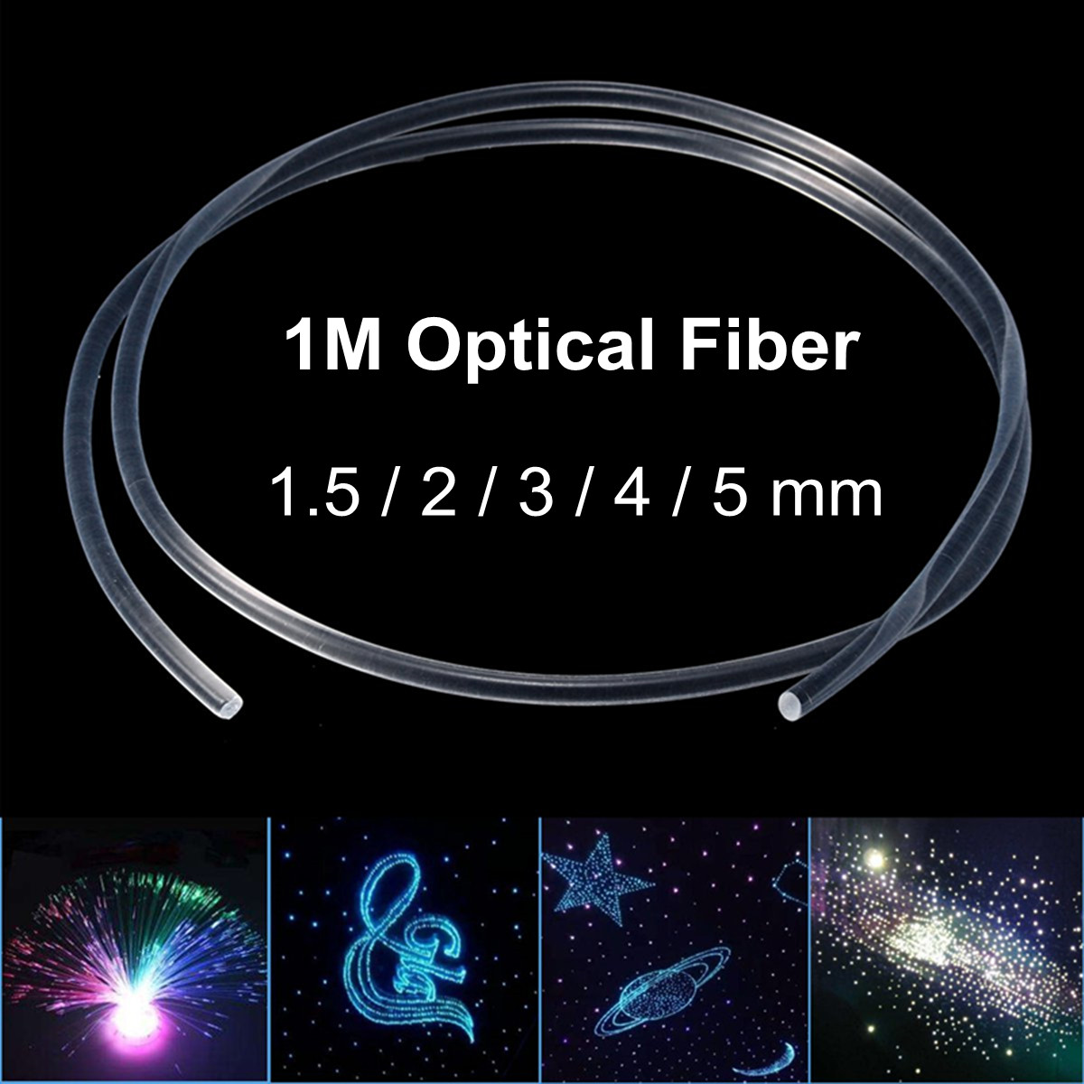 Side Glow Optic Fiber Light Car Indoor Opitcal Cable Ceiling Lighting Night Lights 1.5-5mm Christmas Party Decoration
