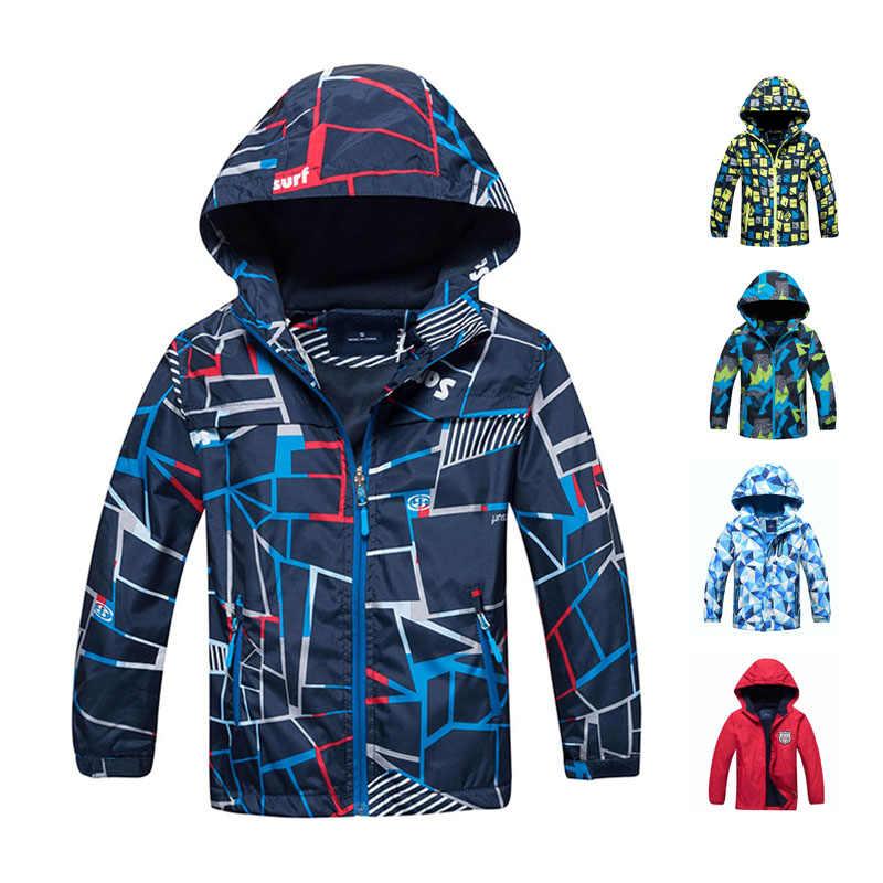 Весенне-осенняя куртка для мальчиков, водонепроницаемая ветрозащитная верхняя одежда для детей, теплое флисовое пальто, толстовка с капюшоном, детская одежда для От 3 до 12 лет