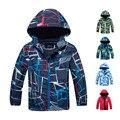 Куртка для мальчиков на весну и осень, водонепроницаемая и ветрозащитная верхняя одежда для детей, теплое флисовое пальто с капюшоном, одеж...