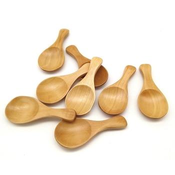8 Uds. Pequeña cuchara para la sal de madera maciza cuchara de condimentos hecho a mano miel cucharadita condimento azúcar café té mermelada mostaza hielo Cr