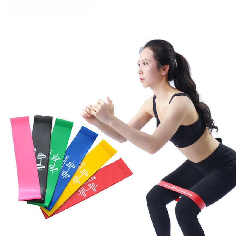 1pc Pink Yoga Resistance Bands 500mm*50mm*0.35mm 7.5g 5LBS Workout Training Rubber Loops Fitness Body Building
